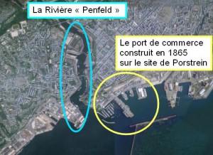 """La """"Penfeld"""" et le port de commerce construit sur le site de Porstrein. (source google map)"""
